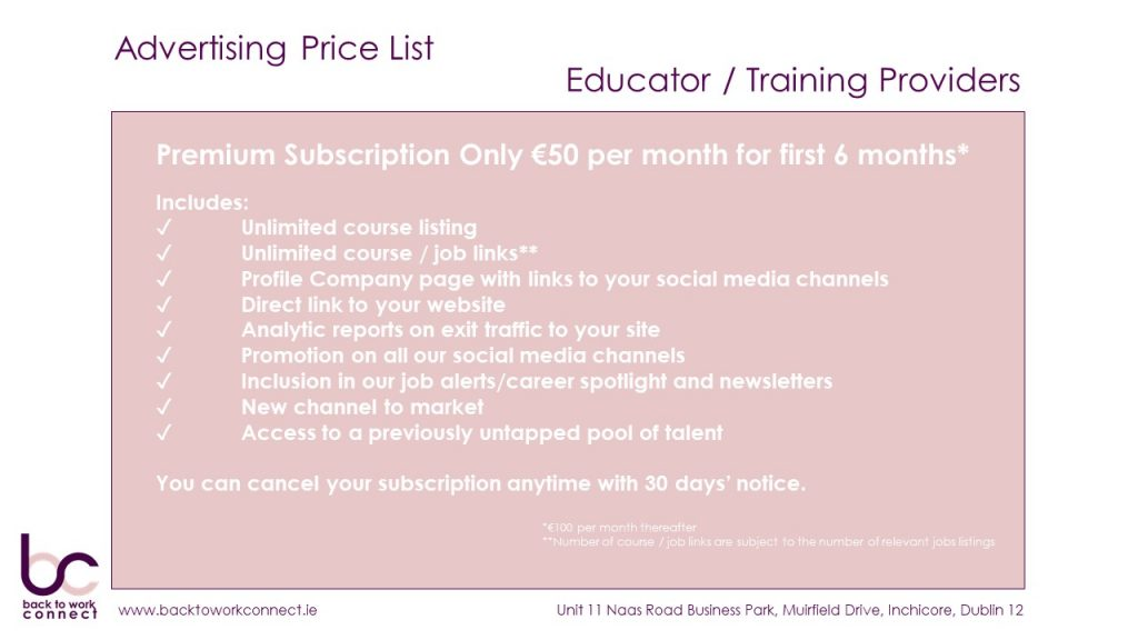 Back To Work Connect Educators Price List